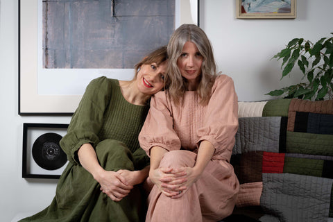 Portrait of Vic Holbrook and Bex Courtney-Wells wearing linen Quilt Dress from THE REGULAR