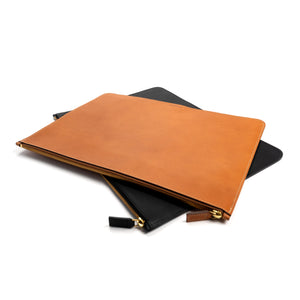 THE REGULAR  tan and black vegetable tanned leather Folio document case.