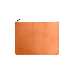 THE REGULAR tan leather folio doucument case, with zip. Front view.