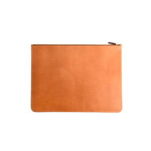 THE REGULAR tan, leather Folio doucument case with zip. Back view.
