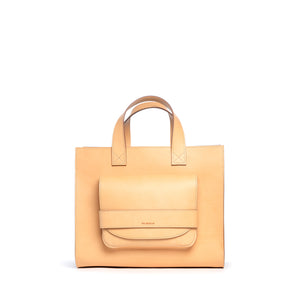 THE REGULAR blonde, leather Pioneer Tote.  Front view.