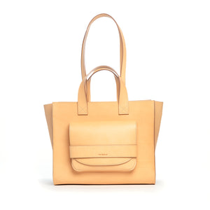 THE REGULAR blonde, leather Pioneer Tote.  Front view showing double handle.