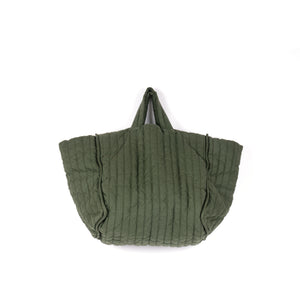The Quilt Tote - Olive Garment Dyed Linen