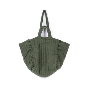 THE REGULAR Large Quilt Tote in olive green garment dyed linen fabric.   Large quilted panels are bound together creating exposed seams. Bag also features double handle detail made up of shoulder length handles and smaller grab handles.