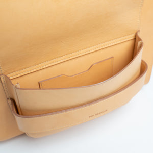 THE REGULAR inside front pocket of Pioneer Tote. Light tan 'blonde' vegetable tanned leather.
