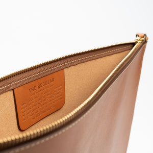 THE REGULAR tan leather Folio, document case, showing an inside view with embossed label.