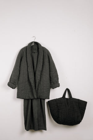 Quilt Jacket - Slate Grey Garment Dyed Linen