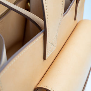 THE REGULAR light tan 'blonde' leather Pioneer Tote bag. View looking inside the bag from the top.