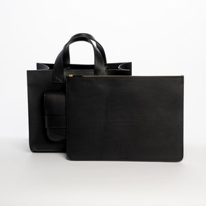 THE REGULAR branded black leather Pioneer Tote and black leather Folio doucument case.