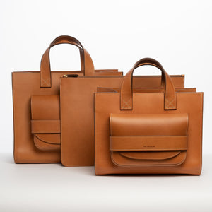 THE REGULAR tan leather Pioneer Totes with Folio, document case.