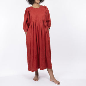 CHILLI RED LINEN DRESS, QUILTED BODICE AND PUFFED SLEEVES, MIDI LENGTH