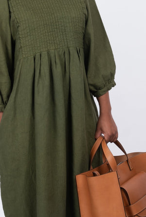 Quilt Dress - Olive Garment Dyed Linen