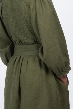 olive linen dress garment dyed