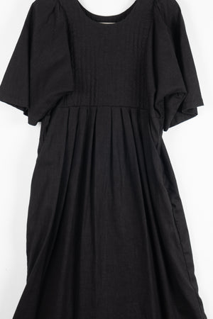 Carly Quilt Dress - Black Linen