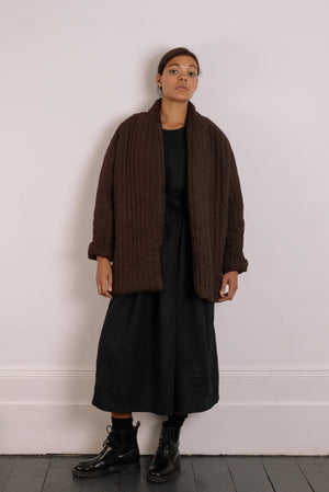 Quilt Jacket - Bark Brown Garment Dyed Linen