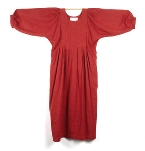 CHILLI RED LINEN DRESS WITH PUFFED SLEEVES AND QUILTED BODICE