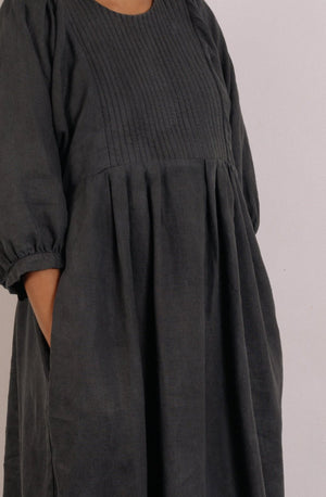 Quilt Dress - Slate Garment Dyed Linen