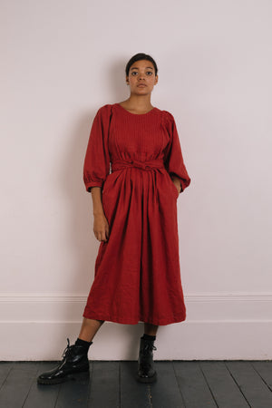 Quilt Dress - Brick Garment Dyed Linen