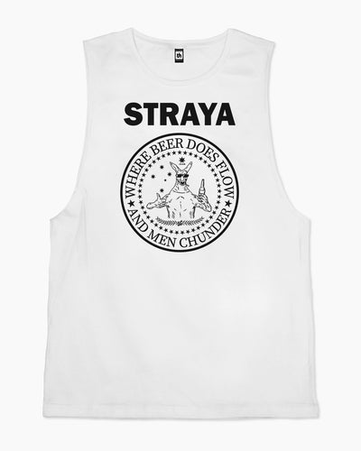 Straya - Where Beer Does Flow & Men Chunder Tank Australia Online