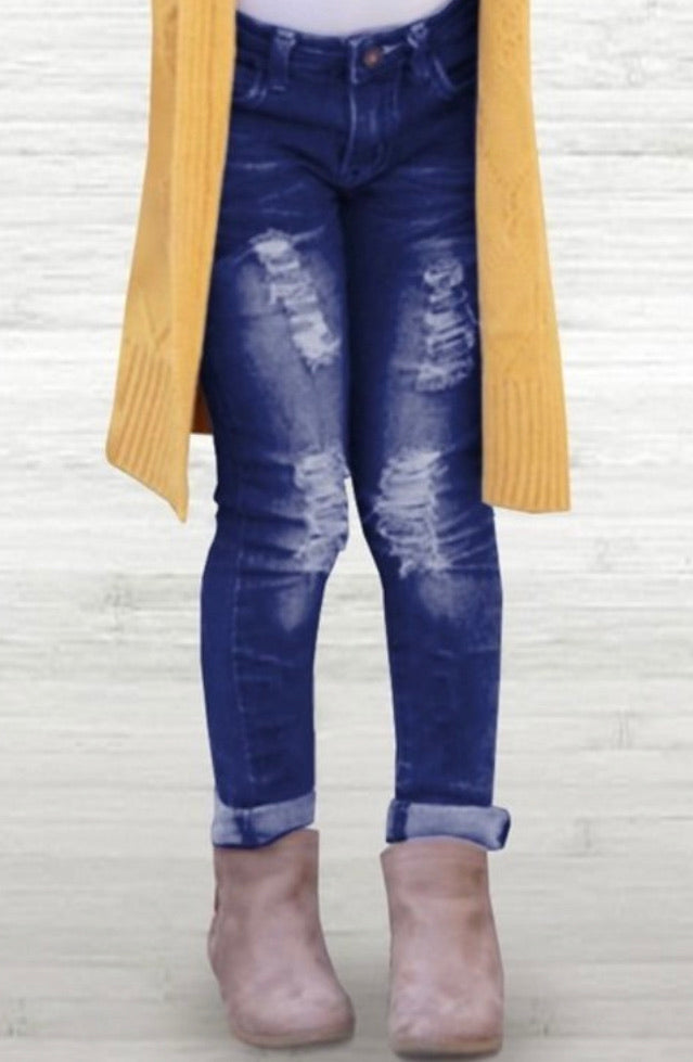 Tattered Ice Blue Jeans