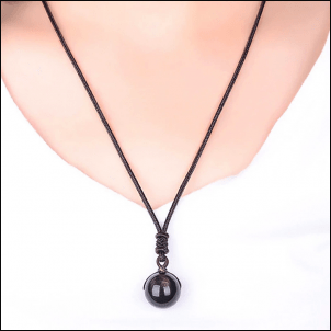 Collier flocon de neige obsidienne