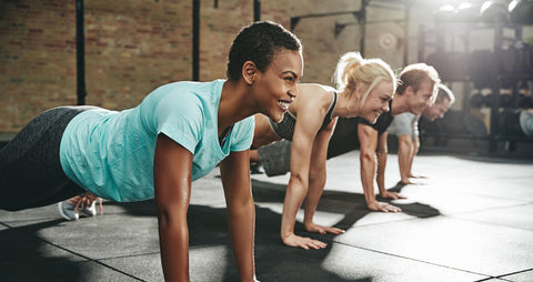 image of workout class planking