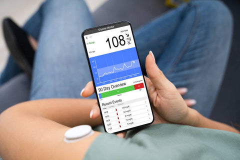image of smartphone with glucose readout