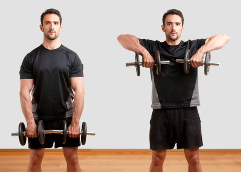 image of man doing dumbell upright row