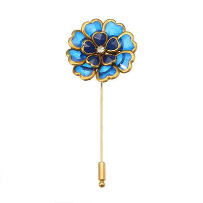 Antique Gold Plated Crystal Flower Brooch Elegant Alloy Pin Women Jewelry