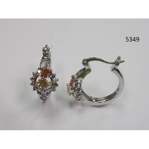 Multicolor Round and Baguette CZ Hoop Earring
