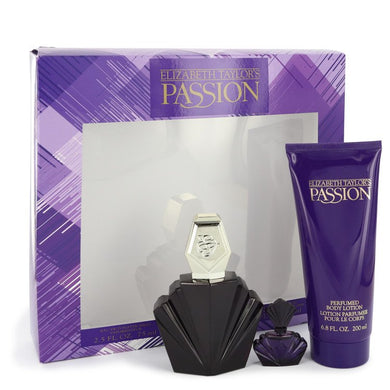 PASSION by Elizabeth Taylor Gift Set -- 2.5 oz Eau De Toilette Spray + .12 oz Mini EDP + 6.8 oz Body Lotion for Women