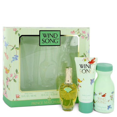 WIND SONG by Prince Matchabelli Gift Set -- .55 oz Cologne Spray +1.9 oz Body Lotion + 2.7 oz Dusting Powder for Women