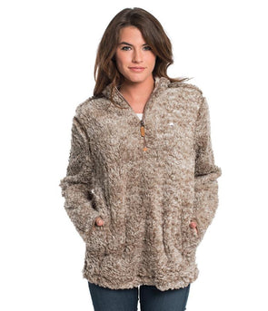 SOUTHERN SHIRT COMPANY HEATHER SHERPA PULLOVER W/POCKETS