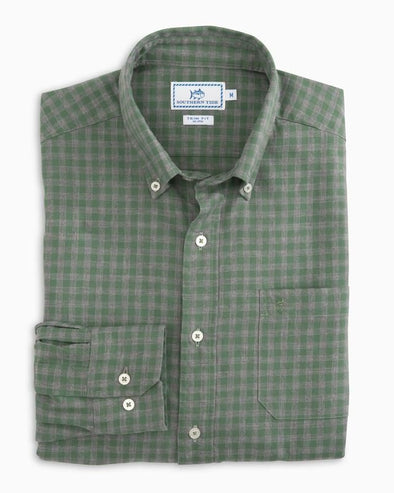 SOUTHERN TIDE SEA OAK GINGHAM L/S SPORT SHIRT