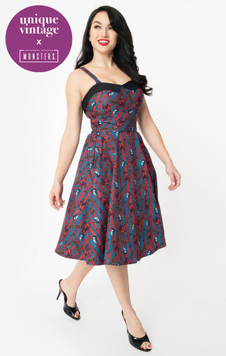 Universal Monsters x Unique Vintage Dracula Print Rachel Swing Dress