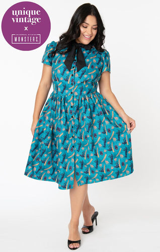 Universal Monsters x Unique Vintage Frankenstein Print Cora Swing Dress