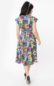 Universal Monsters x Unique Vintage Monsterror Print Hedda Swing Dress