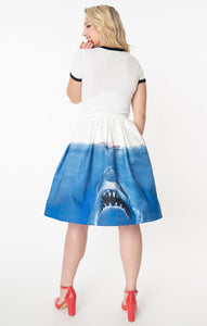 Jaws x Unique Vintage Jaws Movie Poster Jayne Swing Skirt