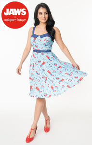 Jaws x Unique Vintage Jaws Print Rachel Swing Dress