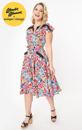 Wonder Woman x Unique Vintage Collage Print Hedda Swing Dress