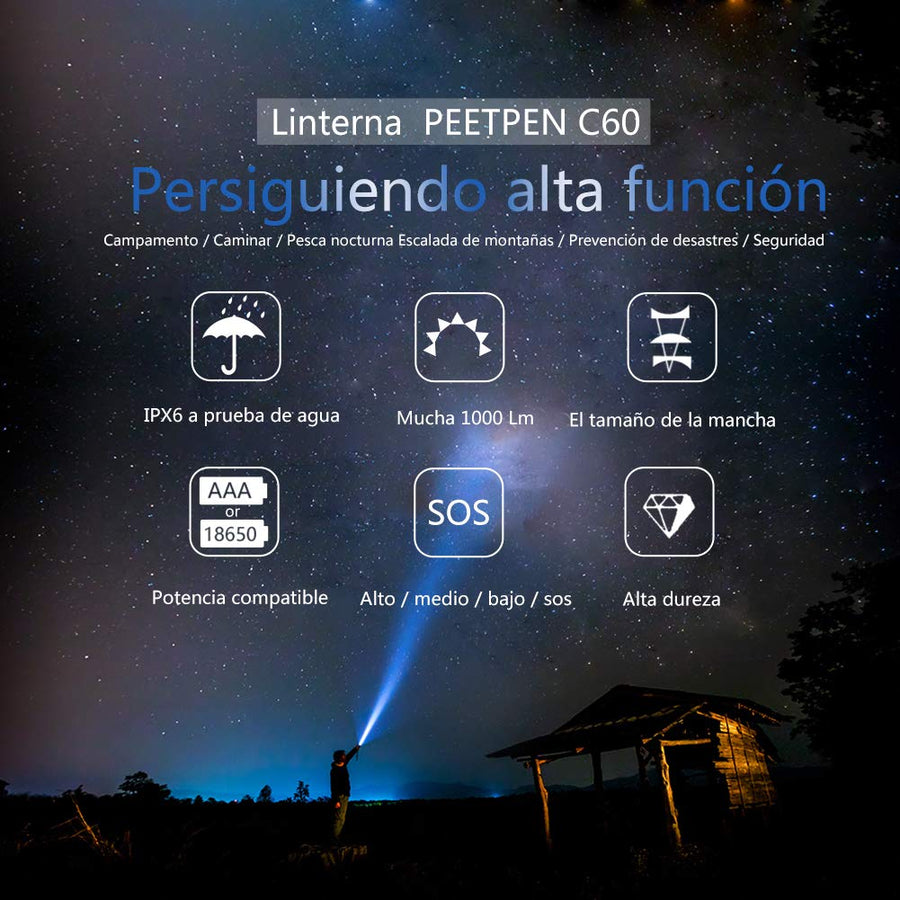 Linterna LED de Mano Impermeable-Regalos Originales