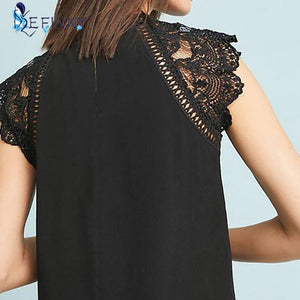 Womens Blouse Lace Patchwork Sleeveless Solid Shirt - Wish.N Dreams