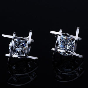 Geometric hollow square triangle zircon earrings - Wish.N Dreams