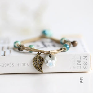 Ceramic Cute Flower Leaf Pattern Bracelets Handmade Vintage Boho Style - Wish.N Dreams