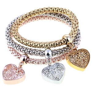 3 Pcs/Set Crystal Owl Heart Charm Bracelets & Bangles Gold/Silver Plated - Wish.N Dreams
