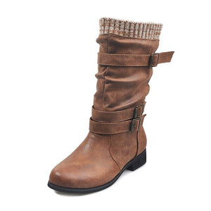 Winter Buckle Strap Pu Leather Chunky Heels Mid Calf Boots - Wish.N Dreams