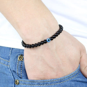 Turkish Evil Eyes Bracelet Black Natural Stone Beads For Male - Wish.N Dreams