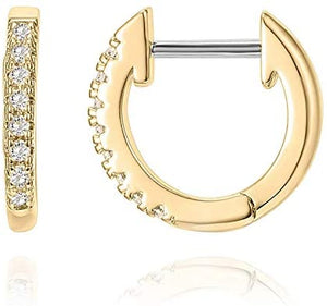 14K White Gold Plated Post Cubic Zirconia Cuff Earring Huggie Stud - Wish.N Dreams