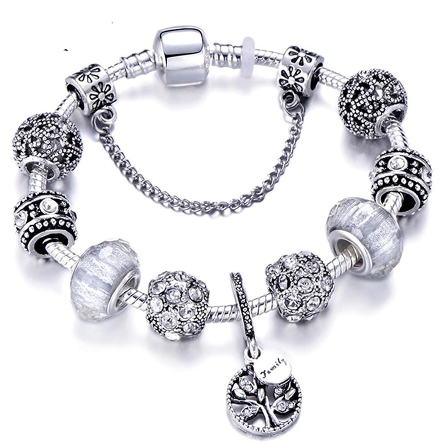Silver Charm Bracelet Bangle Crystal Flower Beads - Wish.N Dreams