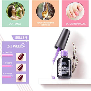 Gel Nail Polish Kit 16 Colors With Top Coat Base Coat - Popular Nude Dark Shade Colors - Wish.N Dreams